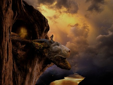 Sky, Nature, Landscape, Fantasy, Lion Head, Statue