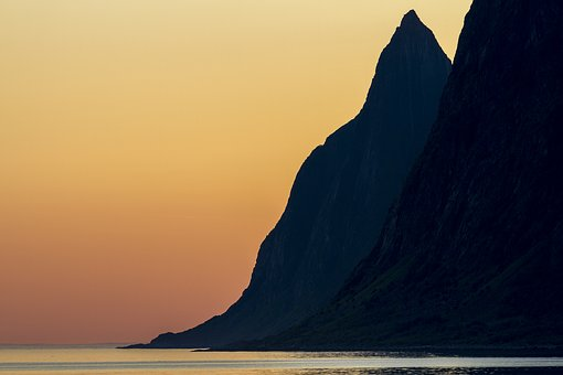 Sunset, Mountain, Landscape, Dusk, Mood, Midnight Sun