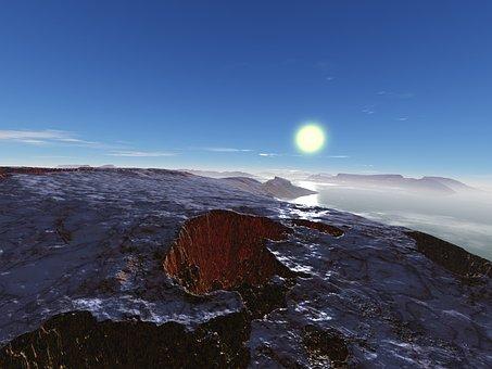 Drone, Landscape, Crater, Vulcano, Seashore, Sea, Water