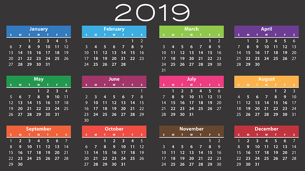 Calendar, 2019, Agenda, Schedule, Plan, Appointment