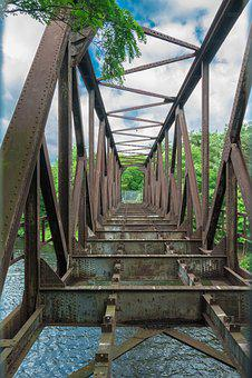 Architecture, Bridge, Woods, Old, Iron, Structure