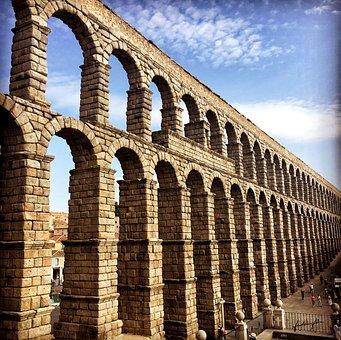 Spain, Castile, Segovia, Roman Aqueduct, Roman Art