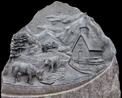 Relief, Marble, Art, Stone, Chapel, Cows, Mountains