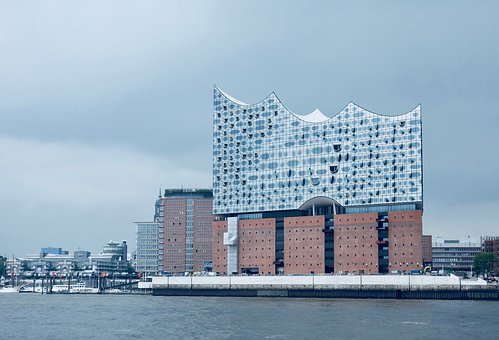 Architecture, City, Sky, Travel, Waters, Elbe, Port