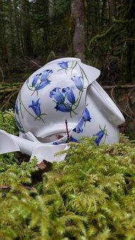 Nature, Wood, Teapot, Broken, Fractured, Moss, Blue