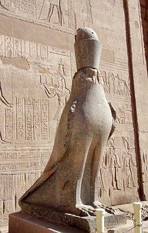 Egypt, Edfu, Temple, Statue, Amputee, Horus, Divinity