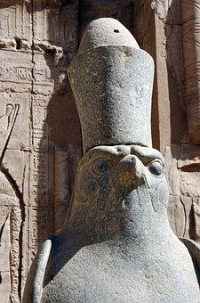 Egypt, Edfu, Temple, Statue, Horus, Divinity, Head