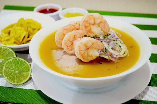 Onions Mixed, Shrimp, Lemon, Chifles, Guayaquil