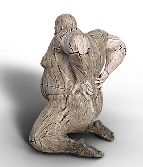 Man, Back Pain, Overweight, Kneeling, Pain, Holzfigur