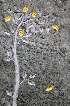 Relief, Marble, Art, Stone, Tree, Branch, Leaves