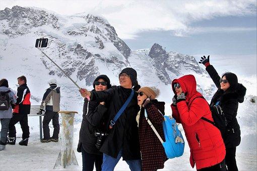 High, Zermatt, Snow, Selfie, Winter, Male, Ice, Group