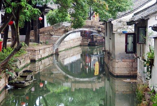 China, Suzhou, Channel, Bridge, Body Of Water