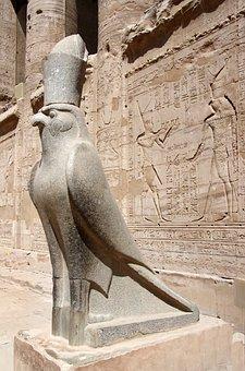 Egypt, Edfu, Temple, Statue, Horus, Divinity, Falcon