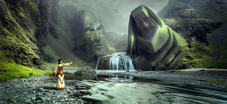 Fantasy, Landscape, Waterfall, Figure, Face, Rock