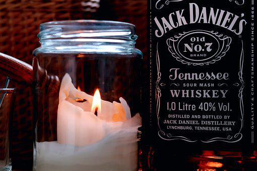 Candle, Glass, Drink, Whiskey, Alcohol, Bottle, Jack