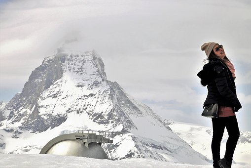 Tourism, Posing, Matterhorn, Top, Biel, She, Sideways