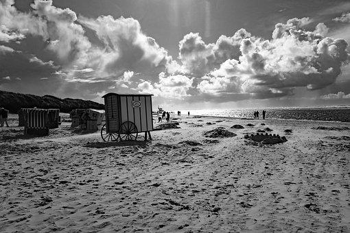 Langeoog, Island, North Sea, Clouds, Beach, Waters