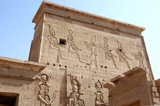 Egypt, Aswan, Philae, Temple, Pylon, Hieroglyphs