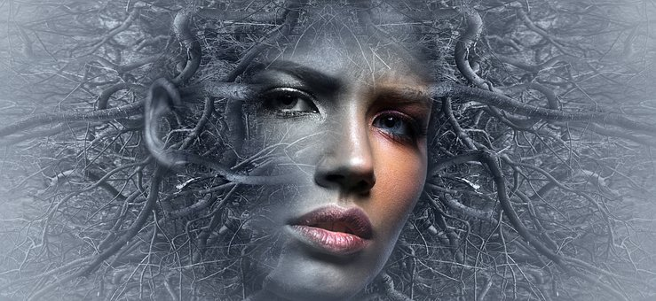 Fantasy, Face, Branches, Woman, Surreal, Mystical