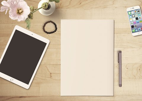 Paper, Tablet, Mobile Phone, Flower, Pen, Wooden Table