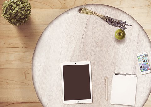 Notepad, Tablet, Table, Flowers, Pen, Mobile Phone