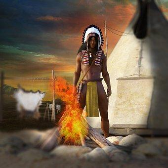 Man, Indians, Wild West, Tippi, Fur, Campfire, Religion