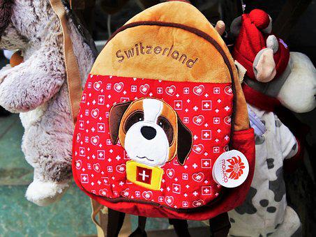 Backpack, Plush, For Children, Toy, Red, Switzerland