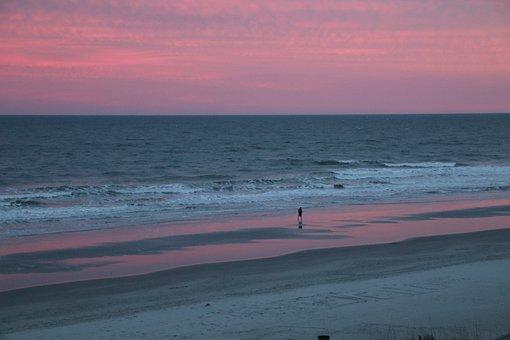 Water, Sea, Sand, Nature, Beach, Sunset, Sky, Landscape