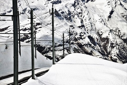 Railway, Rails, Alpine, High, Snow, Winter, Cold