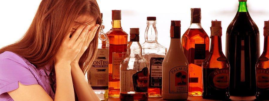Woman, Despair, Alcohol, Bottle, Glass, Drink, Wine
