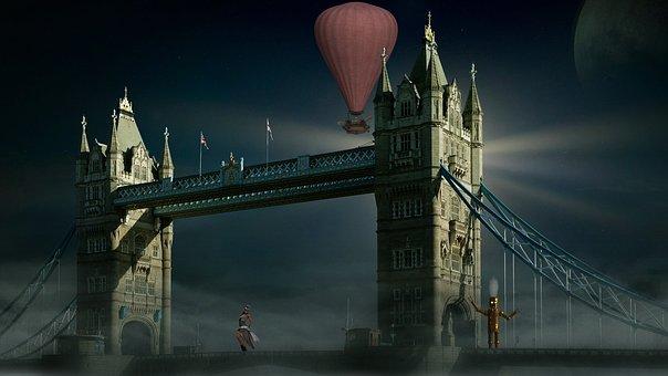 Steampunk, Bridge, Fantasy, Robot, Steam, Steam-punk