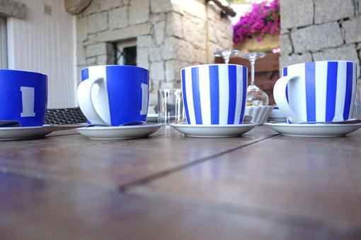 Cup, Coffee Cup, Coffee Mugs, Blue White, Blue, White