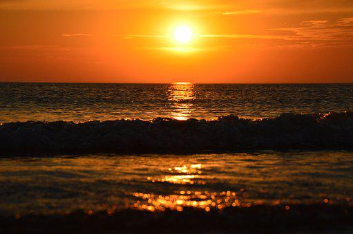 Sunset, Dawn, Sun, Waters, Dusk, Sea, Nature, Ocean