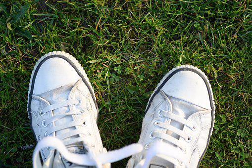 Foot, Shoe, Footwear, Grass, Couple Together