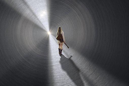 Human, Guitar, Girl, Tunnel, Light, Sun, Light Beam