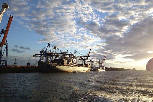 Ship, Elbe, Hamburg, Port, Sea, Waters, Industry