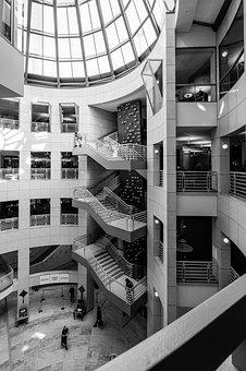 Architecture, Modern, City, Business, Indoors, Stairs