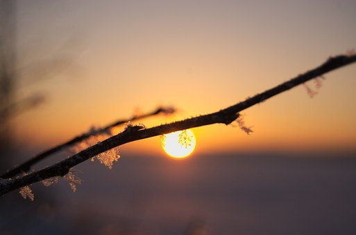 Sunset, Sky, Nature, Twilight, Winter, Snowflake