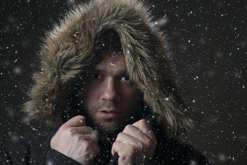 People, Portrait, Adult, Male, Model, Snowing, Hood