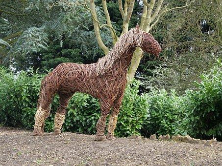 Horse, Sculpture, Wicker, Handicraft, Handmade