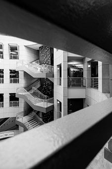 Architecture, Indoors, Stairs, Windows, Library