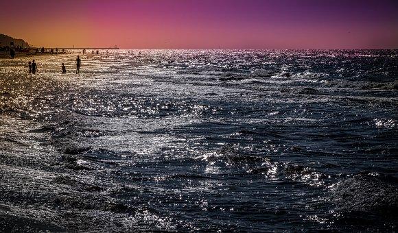 Sea, Ocean, Beach, The Waves, Water, Sunset, Panoramic