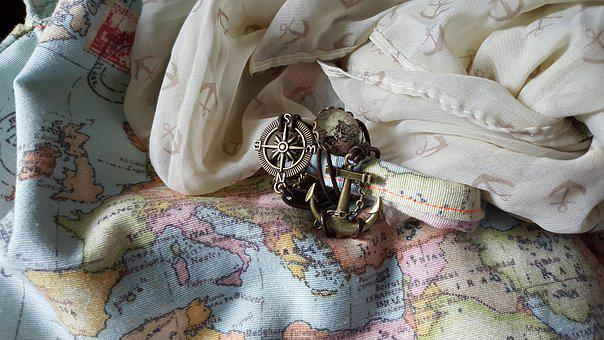 Map Of The World, Compass, Anchor, Travel, Navigation