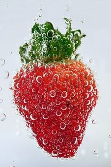 Strawberry, Water, Blow, Air Bubbles, Mineral Water