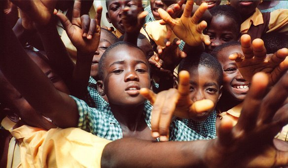 Children, Group, Village, Africa, Hands