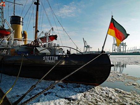 Icebreaker, Elbe, Hamburg, Stettin, Sea, Waters, Port