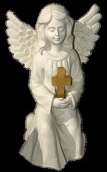 Figure, Angel, Cross, Kneeling, Cherub, Ceramic