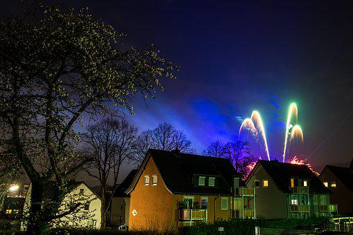 Panorama, Tree, Home, Architecture, Dusk, Fireworks