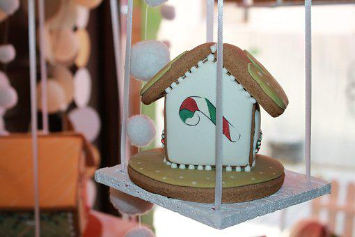 Gingerbread, Food, Cottage, Ornament, Drawing, Sweets