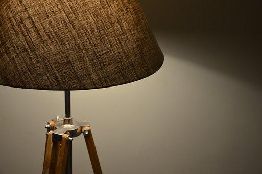 Retro, Antique, Wood, Furniture, Dark, Lamp, Light